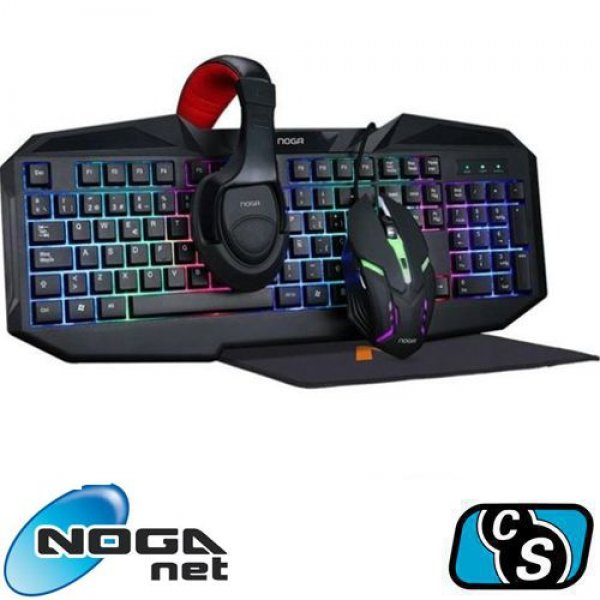 COMBO GAMER NOGA NKB-403 4 IN 1 KIT   KEYBOARD, HEADSET, MOUSE AND MOUSEPAD